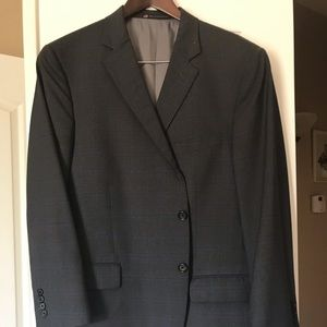 2 piece suit gray blue stripes made in USA